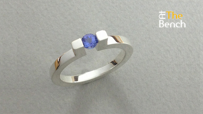 Ring with a Tension Set Stone