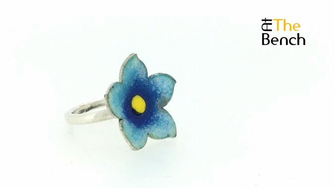 Forget Me Not Enamelled Ring