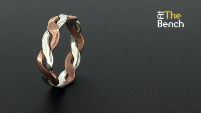 Flattened Silver and Copper Ring